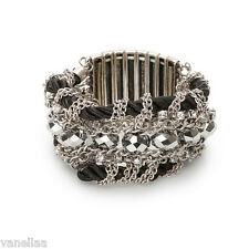 ZARA Bracelet Silver Black Strech Fashion Rhinestones Chains