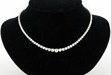 18K WHITE GOLD & 15.50 CARATS SPARKLING DIAMONDS GRADUATED TENNIS NECKLACE