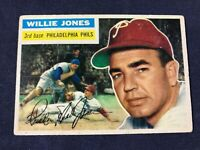 X3-55 BASEBALL CARD - WILLIE JONES PHILADELPHIA PHILLIES -1956 TOPPS - CARD #127