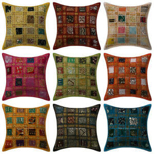 """Indian Heavy Embroidery Pillow Sham Sari Patchwork Square Cushion Covers 16""""x16"""""""