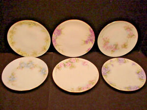 Thomas Sevres Bavaria Hand Painted China Plates set of 6 Each Different Signed