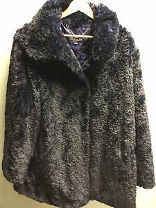 Ladies Dennis Basso Blue Faux Fur Winter Coat UK XL