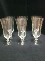 Antique Tiffin Water/Wine panel cut etched glasses Daisies set of 6