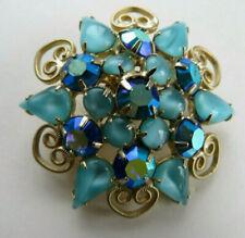 Vintage Blue Aurora Borealis Rhinestone Brooch Pin Starburst Teal Snowflake Nice