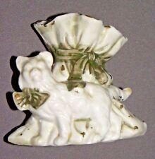 """Vintage Cat Toothpick Holder 3"""" Lusterware Porcelain 1960's"""