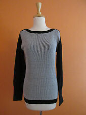 New Puma Womens Size L Black & White Boat Neck Novelty Golf Sweater