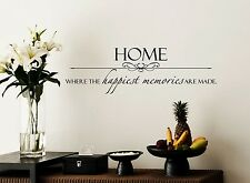 HOME WHERE THE HAPPIEST MEMORIES ARE MADE Wall Art Decal Quote Words Lettering