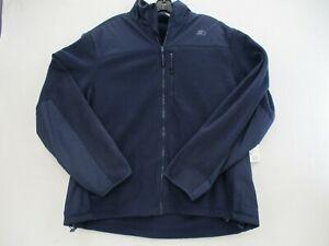 Starter Jacket Mens Large Full Zip Fleece Jacket Navy Blue Long Sleeve Golf