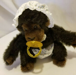 "Vintage 1983 Dakin Baby Gorilla Ape 8"" Plush Pacifier Diaper & Bonnet"