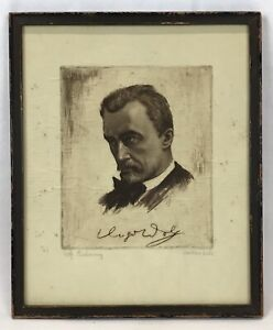 Vintage German Intriguing Man Portrait Copperplate Etching Pencil Signed
