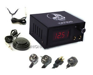 New Black Tattoo machine Power Supply set with clip cord pedal swicher tattooing