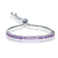 Sterling Silver Adjustable Tennis-Style 3mm Amethyst Gemstone Italian Bracelet
