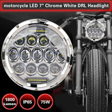7'' Round Chrome LED Headlight Projector For Jeep Harley Tour Electra Softail