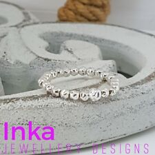 INKA Sterling Silver stacking Stretch Ring Thumb ring with textured beads