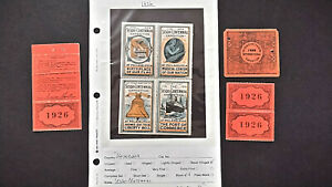 1926 SESQUI-CENTENNIAL EXPO TICKETS,  SOUVENIR BLOCK OF 4  MNH