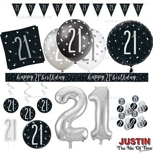Black 21st Birthday Party Decorations Boys Mens Male Balloons Banners Age 21