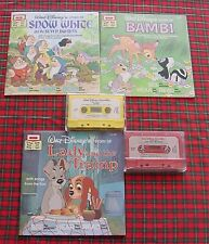 Vintage Disney Read along Books+Cassette Tapes Lady Tramp Snow White Bambi