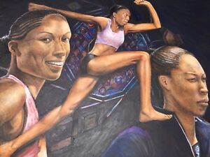 """Allyson Felix Painting """" 52""""x72"""" Acrylic On Canvas - Painting Shipped in tube"""