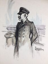 Vice Amiral Lacaze 1920 Marine Charles Fouqueray Lithographie ancienne signée