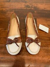 Cole Haan Cream & Brown Tie Loafers Boat Shoes, Size 10