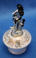 vintage IRiCE mini PERFUME BOTTLE white porcelain w/gold leaves Metal POODLE Top
