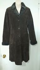 Danier women's 3/4 length Chocolate Brown suede coat size XXS fur lined