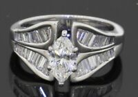 EGL USA heavy 14K WG 1.10CTW VS/F diamond wedding ring w/.60CT Marquise ctr 5.9g