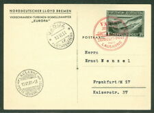 "LIECHTENSTEIN, 1931, Zeppelin Flight w/1fr Zepp stamp tied on ""Europa"" postcard"