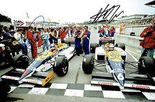 Nigel MANSELL & Nelson PIQUET Autograph SIGNED 12x8 Photo Parc Ferme AFTAL COA