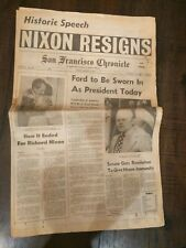 Vintage San Francisco Chronicle Nixon Resigns Newspaper August 9, 1974