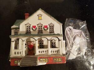 Vintage Lemax 1991 Lighted Winter Christmas Porcelain House