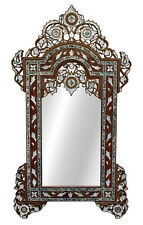 "Large 43"" Handcrafted Moroccan Mother of pearl Inlaid Wood Wall Mirror Frame"