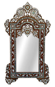 """Large 43"""" Handcrafted Moroccan Mother of pearl Inlaid Wood Wall Mirror Frame"""