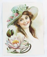Vintage the gary lith NY original victorian lady lithograph 1906 water lily