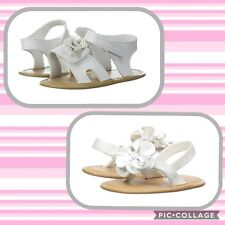 NWT Baby Deer Infant Girl's Sandals Thongs Size 1 2  White Soft Sole Flower