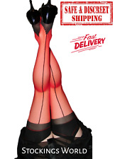 Fully Fashioned Stockings Seamed Bi-Colour Red and Black NEW FREE DELIVERY!!