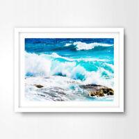 SEASCAPE ART PRINT POSTER Home Wall Decor A4 A3 A2 Photography Ocean Green Waves