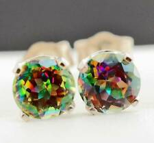 2.06ct Genuine Mystic Topaz Solid White Gold Studs Earrings FREE SHIPPING