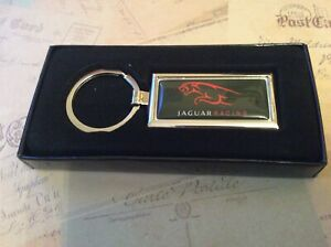 Chrome Keyring In Box Oblong With Printed JAGUAR RACING