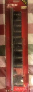 Husky Standard Metric 1/2  Impact Socket Set Mechanic Tool  10 Piece