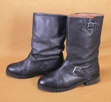 28S H&M Damen Stiefel Biker Boots Leder Gr. 39 schwarz robuste Profilsohle