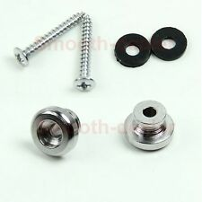 2 Silver Strap Button Locks Screws washer Replacement part for Mandolin Guitar