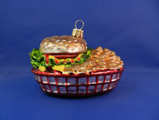 Burger & French Fries Basket Food Chef Glass Christmas Ornaments Poland 011243