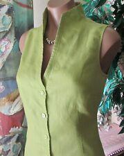 ADOLFO DOMINGUEZ (sz.38/S-M) Chic Casual Linen Eco Blouse Sleeveless Lime Color