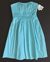 Davids Bridal Pool Blue Strapless Cotton Bridesmaid Dress-Style 83312-Sz 4  NWT