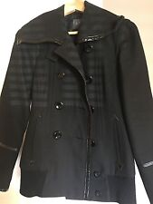 AX women's xs black trench coat - wool/polyester