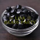 New 10pcs 10mm Cube Square Faceted Crystal Glass Loose Spacer Beads Black