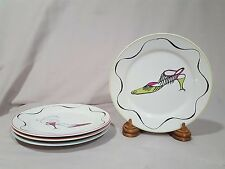 "Rosanna ""High Heeled Shoes"" Appetizer/Salad/Dessert Plates -Set of 4- NEW IN BOX"