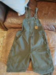 NEW Men 38 X 32 CARHARTT MOSS OVERALLS LINED canvas green zip to thigh SANDSTONE
