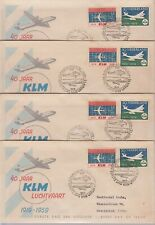 Four NETHERLANDS 1959 KLM anniversary First Day Covers to Netherlands Antilles